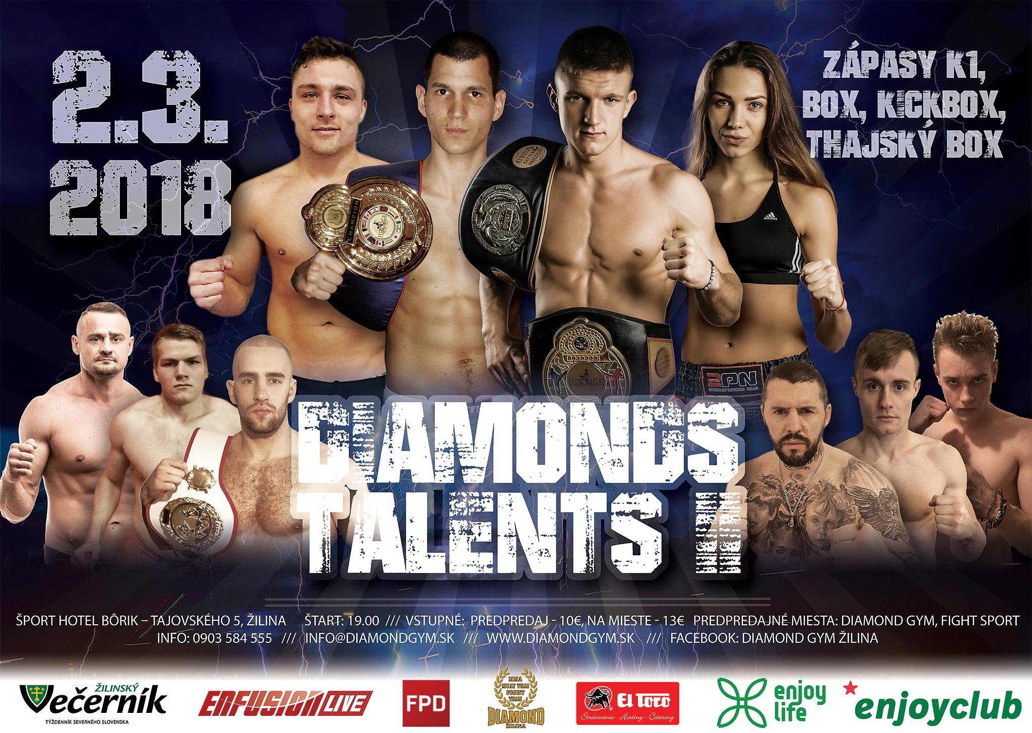 IDIAMONDS TALENTS II - zápasy v thajskom boxe, K1 a boxe.